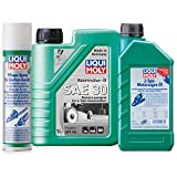 LIQUI MOLY Rasenmäher Öl + 2 Takt Motorsägen-Öl + Pflege-Spray