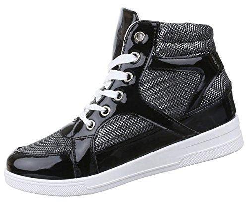 Damen Sneaker Schuhe Freizeitschuhe Keilabsatz Wedges Stiefelette High-Top Schwarz gold silber 36 37 38 39 40 41 Schwarz