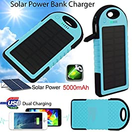 Bositools Solar Charger 5000mAh Rain-resistant and Dirt/Shockproof Dual USB Port Portable Charger Backup Battery Portable Power Pack Solar Power Bank Phone Chargers Solar Powered Charger Usb External Battery Charger Portable Solar Charger External Battery Power Bank Charger for iPhone 6 Plus 5S 5C 5 4S 4, iPad Air Mini, iPods(Apple Adapters not Included), Samsung Galaxy S5 S4 S3,Note 4 3 2, Nexus, HTC, Android Phones,Windows phone, Bluetooth Speakers, MP3, Tablets and Other Devices(Blue)