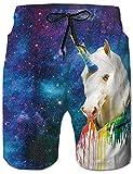 Loveternal Pantalones Cortos Galaxia Deportivos Verano Unicornio Bañador Hombre Estampado 3D Secado Rápido Hawaiano Bañador Hombre Playa M