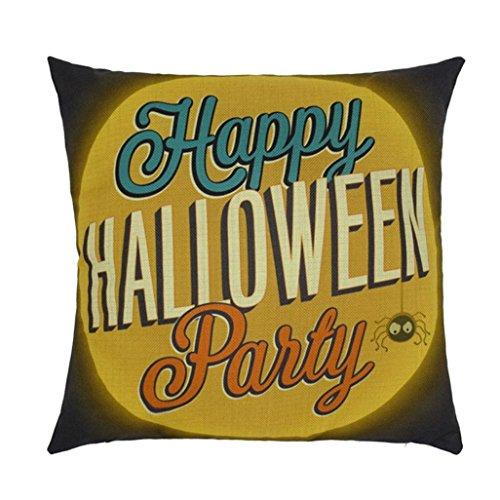 Halloween Kissenbezüge,Gusspower Kissen Kissenhülle Leinen Kissenbezug für Halloween Cartoon Personalisiert Geschenk 45x45cm (E)