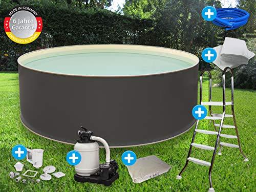 Paradies Pool Edition grau Komplettset 3 rund, 450x120cm (Ø x H), Stahlwandbecken grau, Poolplane in Sand 0,6mm, Handlauf grau, inkl. Leiter Pumpe Sandfilter, Swimmingpool, Menge: 1 Stück