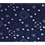 Bandana Navy Poly Cotton Inch Wide Fabric By the Yard (F.E.®) by The Fabric Exchange