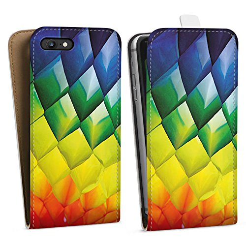 Apple iPhone X Silikon Hülle Case Schutzhülle Rauten Bunt Struktur Downflip Tasche weiß