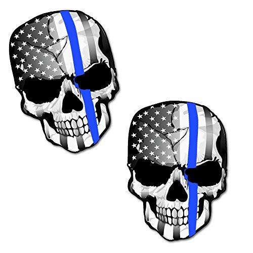2 Stück Vinyl Schädel Thin Blue Line USA Polizei Flagge Aufkleber Autoaufkleber Stickers Auto Moto Motorrad Fahrrad Helm Fenster Tuning B 227