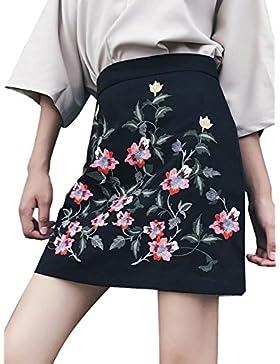 Simplee ropa bordada de la mujer bodycon mini falda lápiz corto de talle alto