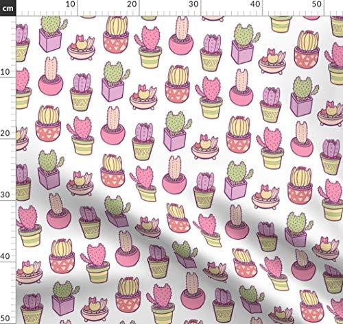 Kaktus, Katzen, Garten, Sukkulenten, Töpfe, Terrakotta, Kakteen Stoffe - Individuell Bedruckt von Spoonflower - Design von Pinkowlet Gedruckt auf Leinen Baumwoll Canvas -