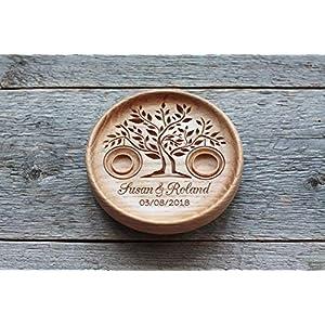 Ringschale aus Holz mit gravierten Namen und Datum, Ringkissen Hochzeit, Ringträger für die Hochzeit