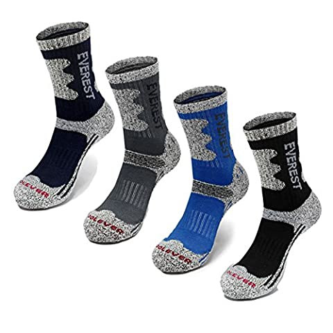 Mt.EVEREST Men's Double Padded Cushion Outdoor Socks Free Navy, Black, Blue, Grey, Red
