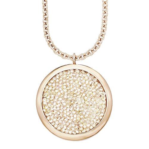 s. Oliver Damen-Kette mit Anhänger Swarovski Elements Edelstahl teilvergoldet Kristall weiß Rundschliff 75 cm - 540247