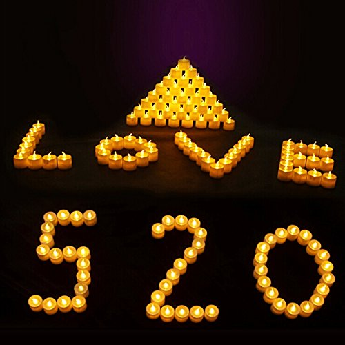12 piezas funciona con pilas sin llama Velas LED con efecto parpadeante monócromos portavelas para velas de té