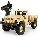OOFAY Ferngesteuerter Geländewagen B-14 Fahrzeuge Vierrad Klettern Militär LKW High Speed Buggy Metall Shell Mit LED-Licht,Yellow