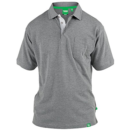 D555 Duke Kingsize Big Mens Grant Pique Polo Shirt Grey Marl 2XL-6XL RRP £18.00 Grey Marl