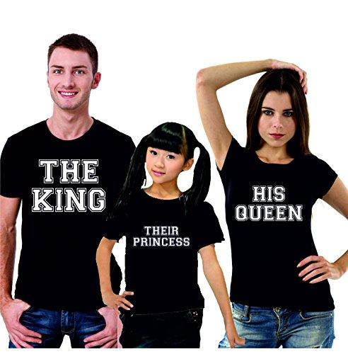 Puzzletee tris t-shirt famiglia madre, padre, figlia the king, his queen, their princess - festa del papa' - festa della mamma - magliette divertenti per tutta la famiglia - in cotone by