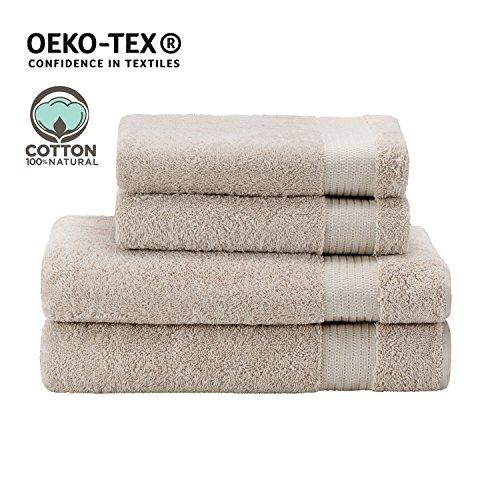 Handtuch-Set mit (2) Handtüchern (2) Badetüchern (Hellbeige), 100% Baumwolle - Hotel- und Wellnessqualität - OEKO TEX Std 100 Zertifizierung - Weich und Saugstark - Waschmaschinenfest - Schwimmbad (Handtuch Hotel)