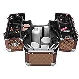 anndora Beauty Case Alu Kosmetikkoffer Schminkkoffer Werkzeugkoffer - Braun Karo -