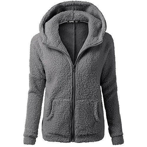Vertvie Femme Veste Polaire Zippé Sweat-shirt à Capuche Manteau Hoodie Chaud Automne Hiver (XL, Gris Foncé)