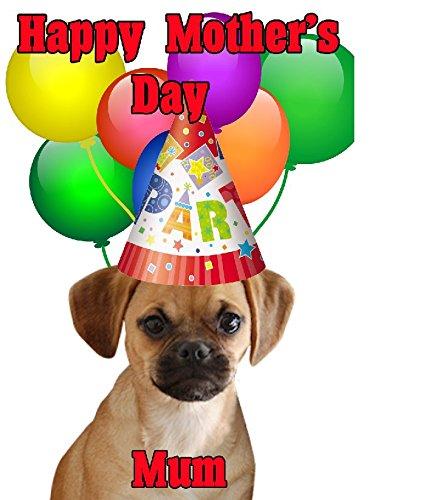 Puggle Hund Happy Mother 's Day Party Hat Karte chmd248personalisierbar Grüße