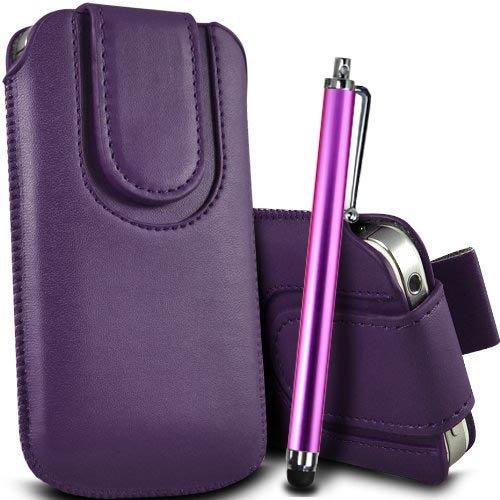 Brun/Brown - Xiaomi Redmi 2 Housse et étui de protection en cuir PU de qualité supérieure à cordon avec fermeture par bouton magnétique et stylet tactile pour par Gadget Giant® Pourpre/Purple & Stylus Pen