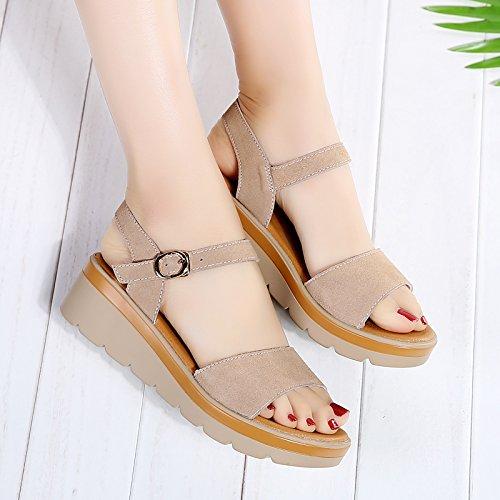 Lgk & fa estate sandali da donna estate tacco piatto fondo Student sandali scarpe da donna alla moda con spessore fondo cuoio donne incinte, 38 Brown 39 Brown