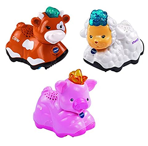 Vtech – Toot Toot Animals – Pig, Cow and Sheep – 3 Tut Tut Animo Version Anglaise