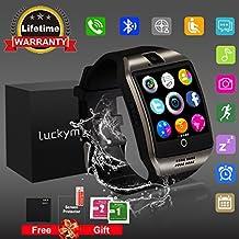 Reloj inteligente Bluetooth con cámara, reloj desbloqueado del teléfono celular Ranura para tarjeta SIM Reloj con pantalla táctil Smartwatch para Android Samsung iOS iPhone 7 8 Plus Niños Mujeres Hombres (Q18 Black)