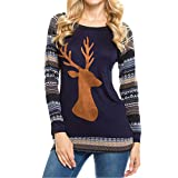 Kltipeng Womens Blouses Women Christmas Elk Long Sleeve Geometric Printed Splicing T-Shirt(EU-36/CN-M, Blau)