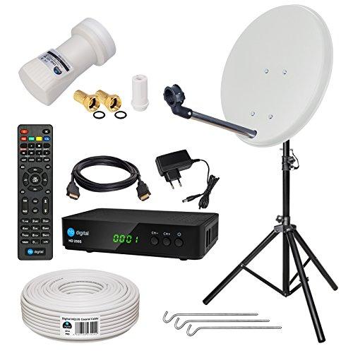 HB-DIGITAL Sat-Komplett-Set: Mini Sat Anlage 40cm Schüssel Hellgrau + UHD Single LNB 0,1 dB + 10m Kabel + HD 250S Receiver ( für HDTV geeignet ) + Stahl Stativ
