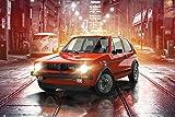 Volkswagen - Golf GTI - VW Poster Plakat Druck - Größe 91,5x61 cm + 2 St Posterleisten Kunststoff 93 cm schwarz