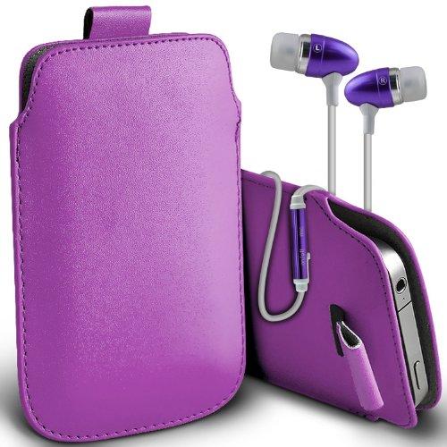 ( Purple + Earphone ) Yota YotaPhone 2 Hülle Abdeckung Cover Case schutzhülle Tasche Custom Made Faux Leather Pull Tab Tasche Skin Case Cover mit Premium Qualität im Ohrhörer Stereo Freisprecheinrichtung Headset mit integriertem Mikrofon Mic und On-Off -Button von ONX3®