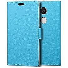 Funda LG Nexus 5X,SLEO Cartera Carcasa Piel PU Suave Flip Folio Caja Super Delgado [Estilo Libro,Soporte Plegable y Cierre Magnético] para LG Nexus 5X - Azul