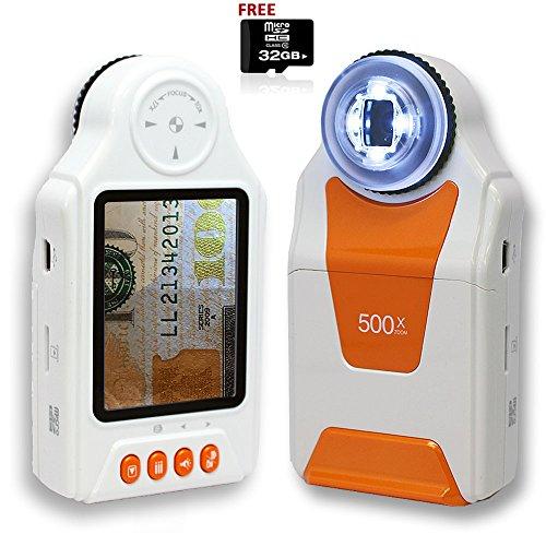 Indigi® Digital Pocket Mikroskop Lupe 500x Zoom 6,9cm LCD Foto & Video 32GB Bundle–High-End lernen & Bildung Spielzeug–Tolles Geschenk.