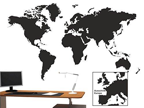 Wandtattoo Weltkarte sehr detailreich Büro Arbeitszimmer M207