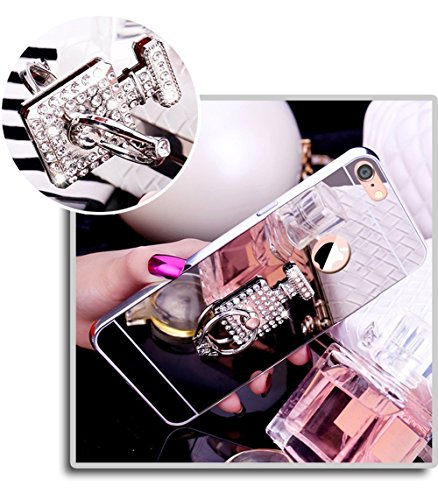 iPhone 7 Custodia, iPhone 8 Cover, Apple iPhone 7 / 8 Custodia Cover, JAWSEU Moda Lusso Placcatura Specchio Riflessione Diamante Glitter Bling Custodia Cover per iPhone 8 Copertura Case Cover Ultra So Specchio Argento + Anello di bottiglia