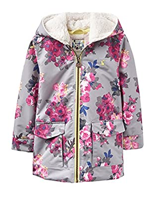 Joules Girl's Jnr Waterproof Fleece Lined Floral Raincoat