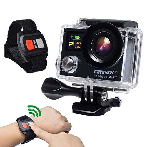 Campark Deportes Acción Camera Dual Pantalla, 4K 1080p WiFi Resistente al Agua RF Mando a Distancia