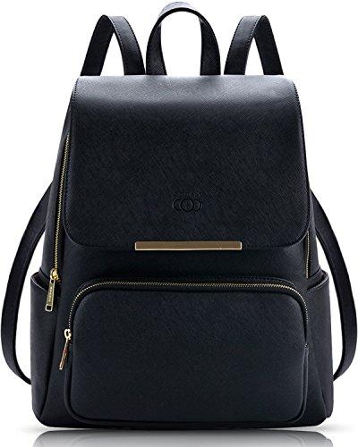 Damen Rucksack,Coofit Leder Rucksack für Mädchen Schultasche Casual Daypack Schulrucksäcke Tasche Schulranzen Schwarze