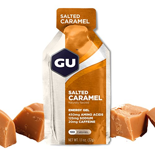GU Energy Gel, Salted Caramel (salziges Karamell), Box mit 24 x 32 g