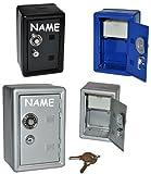 Unbekannt Spardose Tresor Schrank blau / schwarz / grau - mit Schlüssel - incl. Namen - stabile Sparbüchse für die Reisekasse aus Metall - Safe Tresorschrank Geld Sparschwein