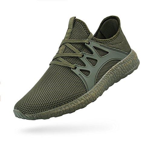 ZOCAVIA Herren Sportschuhe Laufschuhe Sneaker Atmungsaktiv Leichte Wanderschuhe Grün 45