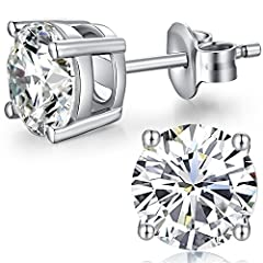 Idea Regalo - orecchini da uomo,orecchino uomo diamante 7 mm,gemelli in argento,orecchino uomo 8mm,orecchini donna argento 925,orecchini uomo diamanti argento