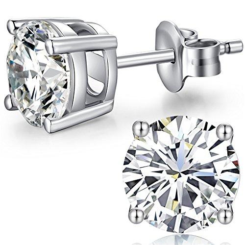 Diamant Ohrstecker Damen Herren 925 Sterling Silber Zirkonia von Swarovski Simulierten Diamant Ohrringe (Diamant-ohrringe Sterling Silber)