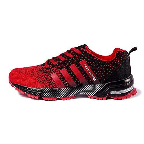 FUSHITON Chaussures de Course Air Coussin Semelle Respirant Confort Sport Athlétique Sneakers Baskets Femmes Hommes, Rouge, 42 EU
