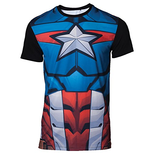 Captain america Herren T-Shirt Lookalike Outfit Style Marvel Rot Blau - - Captain Girl-outfit America
