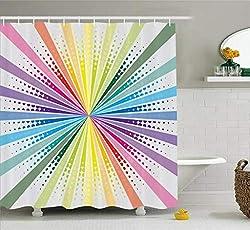 Abakuhaus Jahrgang Rainbow Duschvorhang, Retro Burst, Wasser Blickdicht inkl.12 Ringe Langhaltig Bakterie und Schimmel Resistent, Multicolor