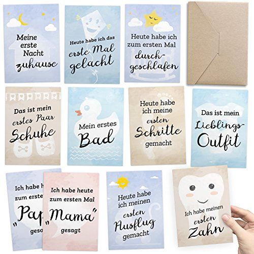 30+1 Meilensteinkarten als Geschenk zur Geburt des Babies: Für unvergessliche Fotos + Baby-Tagebuch in einem - inkl. Geschenkbox & Glückwunsch-Karte - DIN A6, Milestone Foto- & Erinnerungs-Karten