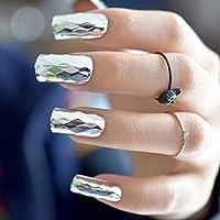 EchiQ - Espejo de metal 3D, diseño de uñas postizas plateadas metálicas estilo punk cuadrado, acrílico, para uñas.