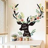 CFLEGEND 3D Wandaufkleber Schlafzimmer Veranda Wohnzimmer Sofa Hintergrund Dekorative Blume Aufkleber Moderne Einfache Elchkopf Wandaufkleber 93X96 cm