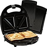 Cooks Professional Sandwich Toaster Panini Maker Waffle Iron Grill 3 in 1 with Non Stick Removable Plates 750W (Sandwich Toaster)