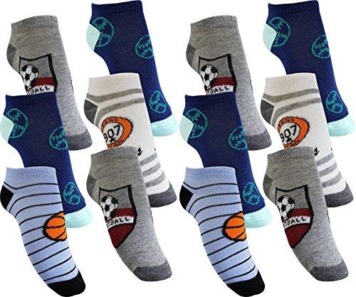12 Paar Jungen Sneaker Kinder Socken 95% Baumwolle Bunter Mix Gr. 23-38 (JD106 31-34)
